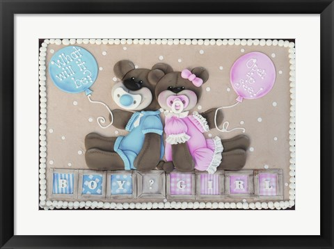 Framed Bear Boy Girl Gender Reveal Print