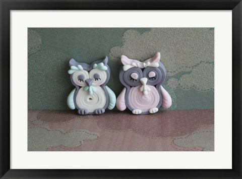 Framed Owl Quilled Boy And Girl Print
