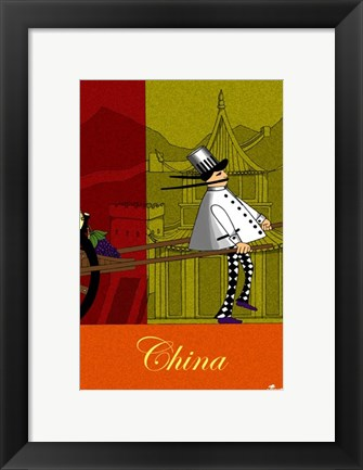 Framed Chef in China Print