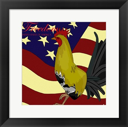 Framed Rooster Freedom Print