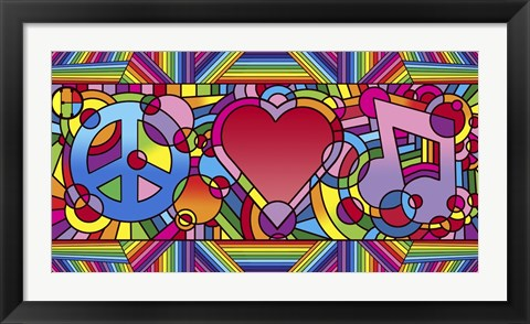 Framed Peace Love Music B Print