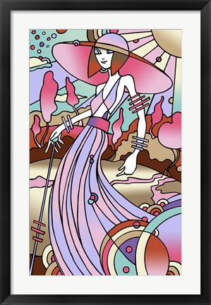 Framed Art Deco Lady Stroll Print