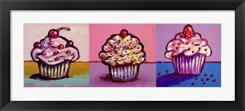 Framed 3 Cupcakes Print