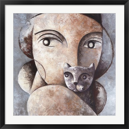 Framed Cat and Woman Print
