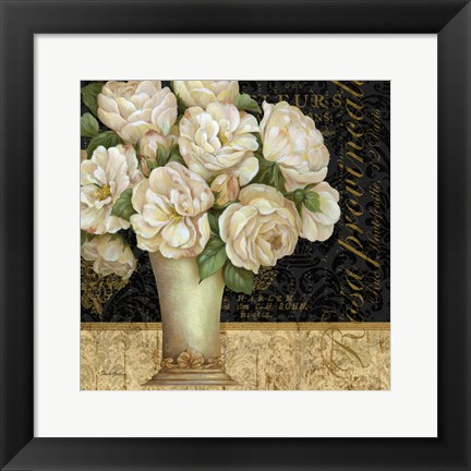 Framed Antique Floral Still Life I Print