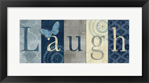 Framed Live Love Laugh Navy III Print
