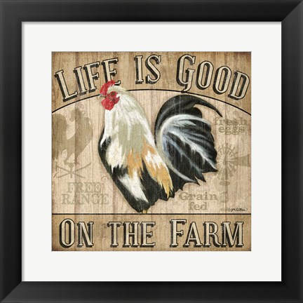 Framed Country Rooster II Print