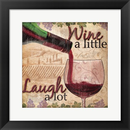Framed Wine With Friends I Print