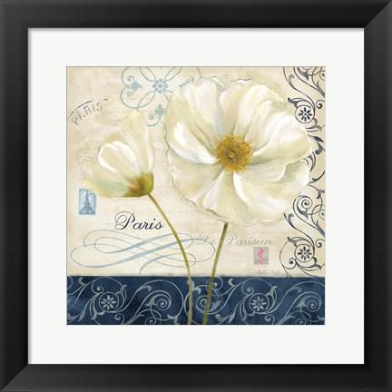 Framed Paris Poppies Blue Trim II Print