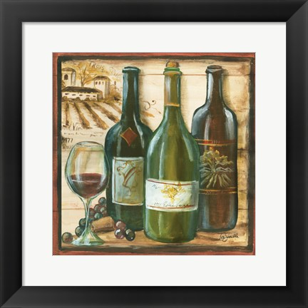 Framed Wooden Wine Square II Print