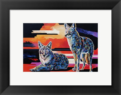 Framed Two Coyotes Print