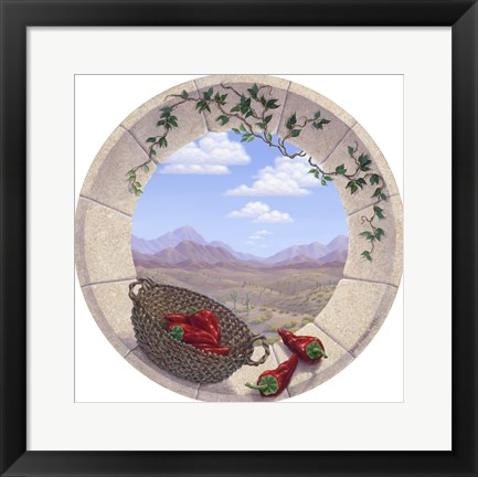 Framed Chilis in the Round Print