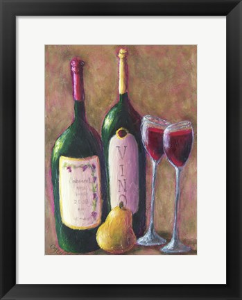 Framed Wine and Pear for Two Print