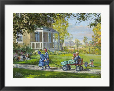 Framed Playing Horse and Wagon Print