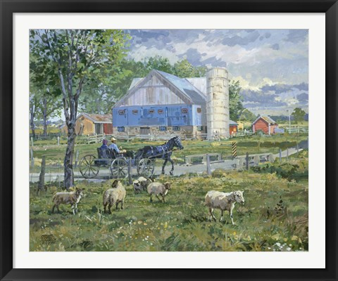 Framed Sheep in a Field Print