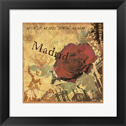 Framed Latitude and Longitude Travel to Madrid Print