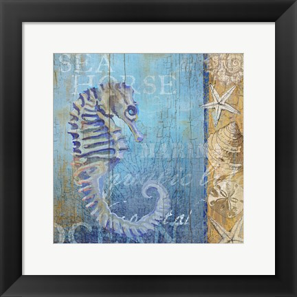 Framed Sea Horse and Sea Print