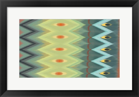 Framed Windy Rug Pattern in Greens Print