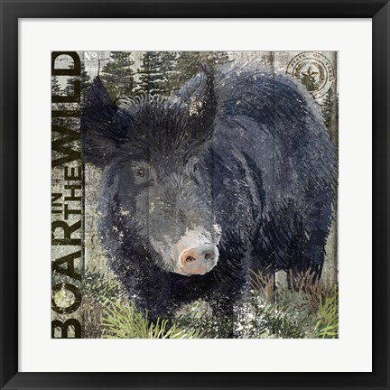 Framed Boar in the Wild Print