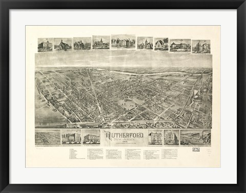 Framed Rutherford, NJ Vintage Map, 1904 Print