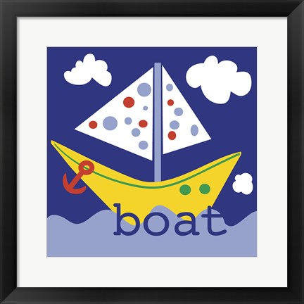 Framed Yellow Boat Print