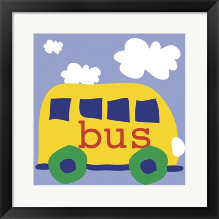 Framed Yellow School Bus Print