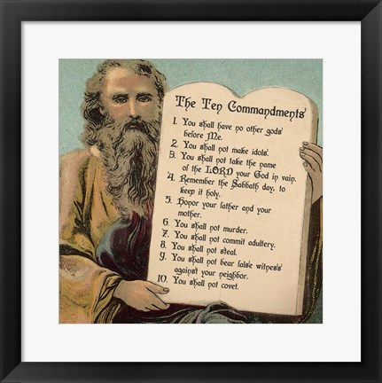 Framed Tablets of the Ten Commandments Print