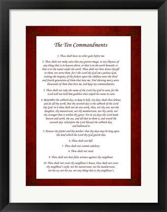 Framed Ten Commandments - Red Print