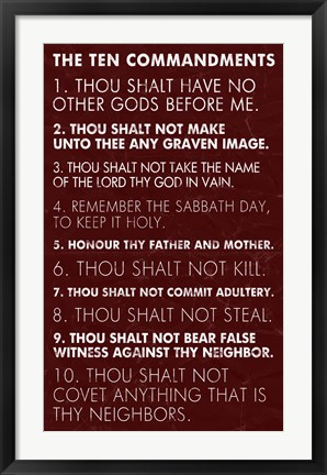 Framed Ten Commandments - Red Grunge Print