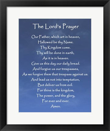 Framed Lord's Prayer - Blue Sky Print