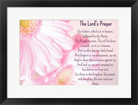 Framed Lord's Prayer - Floral Print