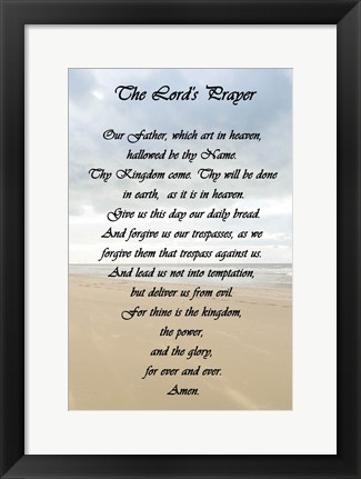 Framed Lord's Prayer - Beach Print