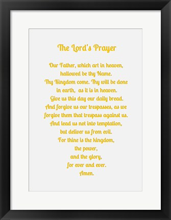 Framed Lord's Prayer - Gold Print