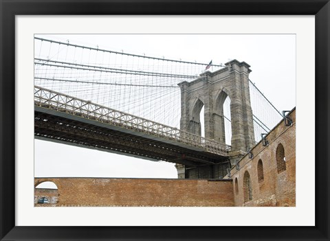 Framed Brooklyn Bridge (brick walls) Print