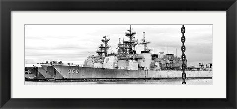 Framed Ship and Chain (b/w) Print