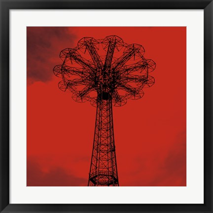 Framed Red Parachute Jump Print