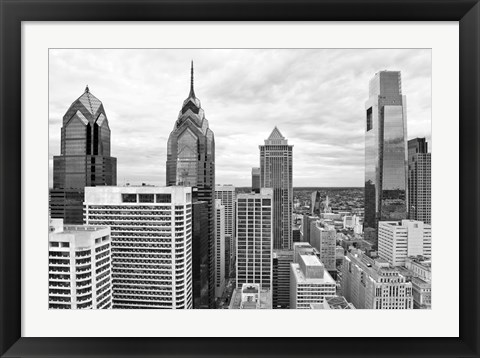 Framed Philly Skyline (b/w) Print