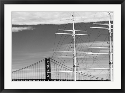 Framed Bridge & Masts (b/w) Print