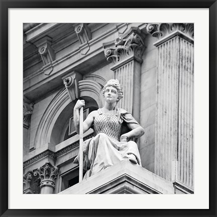 Framed City Hall Sculpture (woman) (b/w) Print