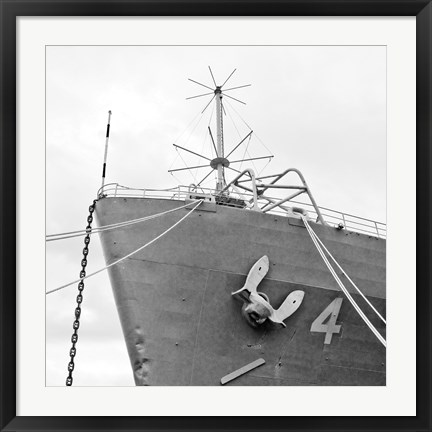 Framed Ship Bow (b/w) Print