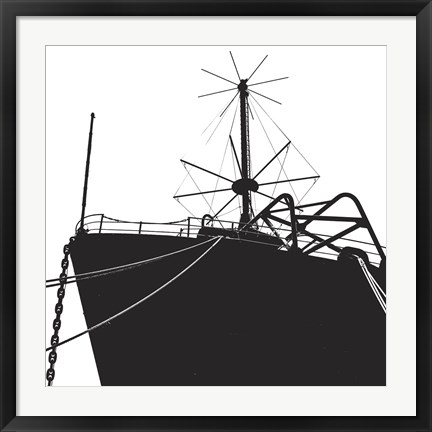 Framed Ship Bow (silhouette) Print