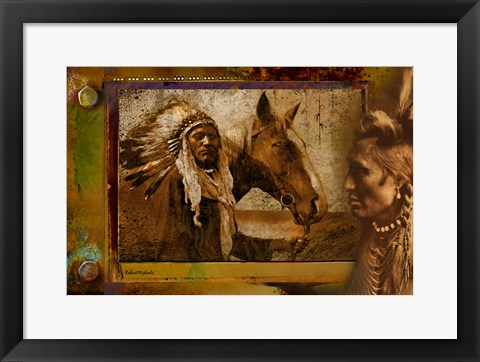 Framed Viewing a Warrior and Horse Print