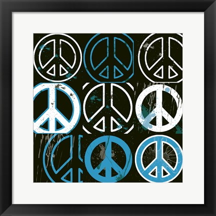 Framed Peace Mantra (Blue) Print