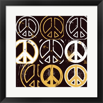 Framed Peace Mantra (Yellow) Print