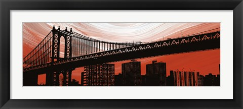 Framed Manhattan Bridge Aura Print