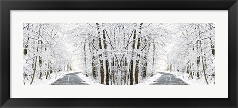 Framed Two Roads Diverged in a Snowy Wood Print