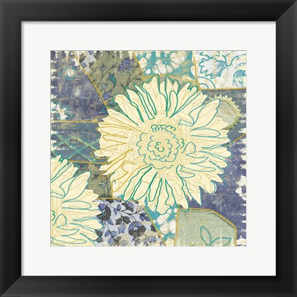 Framed Flower with Fabric Print