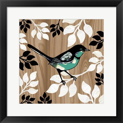 Framed Bird Patchwork II Print