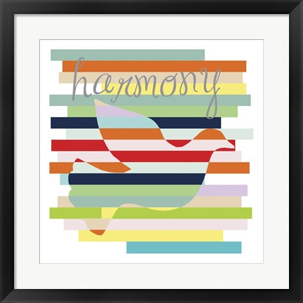 Framed Dove Rainbow Print