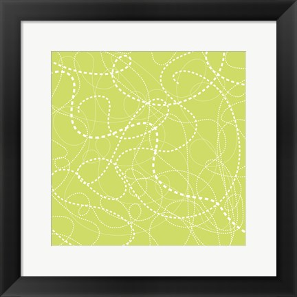 Framed Dashes Green Print
